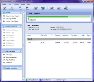 Screenshot of Aomei Partition Manager Professional Edition 3.0's main interface