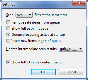 JottiQ Settings Panel. Below is an explanation of all the options.