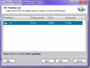 The program presents a list of partitions that it can safely convert as requested.