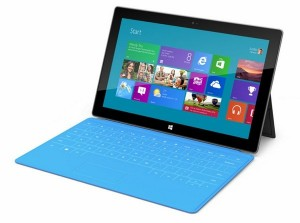 The Microsoft Surface for Windows RT tablet with its Touch Cover attached