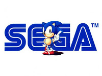 Sonic posing in front of the SEGA logo (Copyright SEGA).