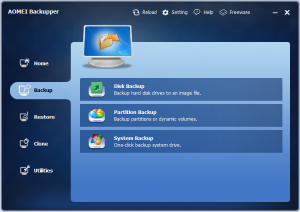 Aomei Backupper 1.6 Home Screen (aka Backup Management)