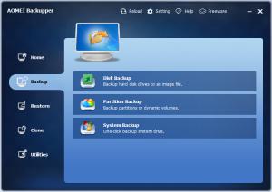 Disk Backup: Backup hard disk drives to an image file. Partition Backup: Backup partitions or dynamic volumes. System Backup: One-click backup system drive.