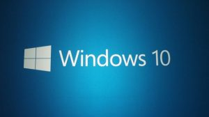 A white Windows 10 Logo on a blue background