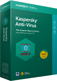 The product box for Kaspersky Anti-Virus, as seen on Kaspersky's website.
